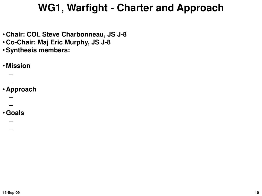 WG1, Warfight - Charter and Approach