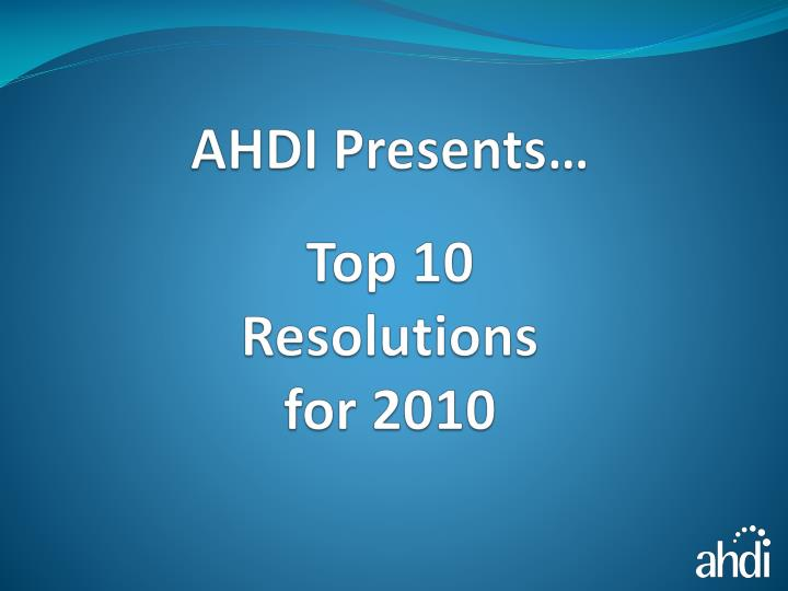top 10 resolutions for 2010 n.
