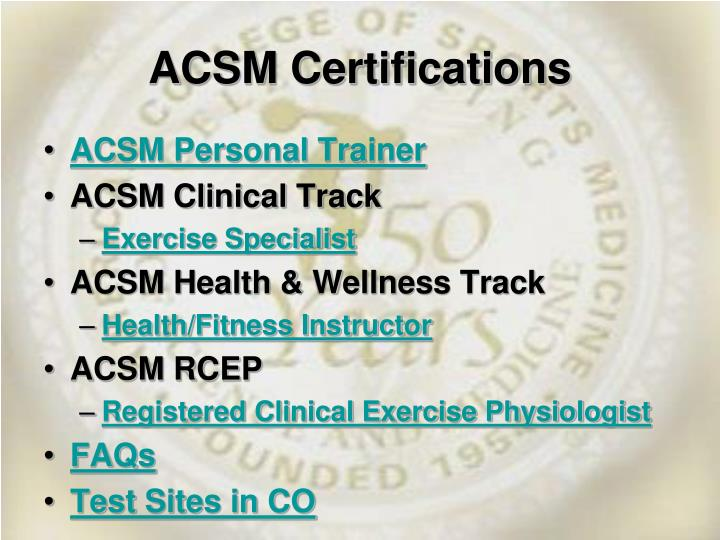 Ppt Acsm The American College Of Sports Medicine Powerpoint