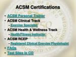 acsm certifications