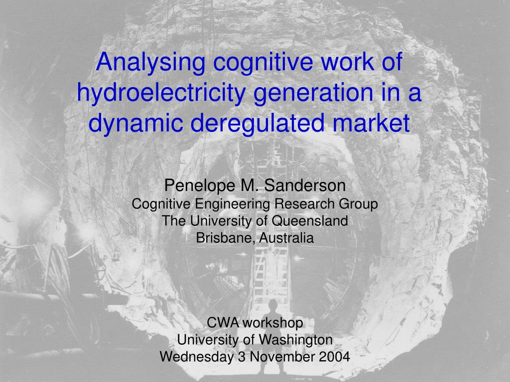 analysing cognitive work of hydroelectricity generation in a dynamic deregulated market l.