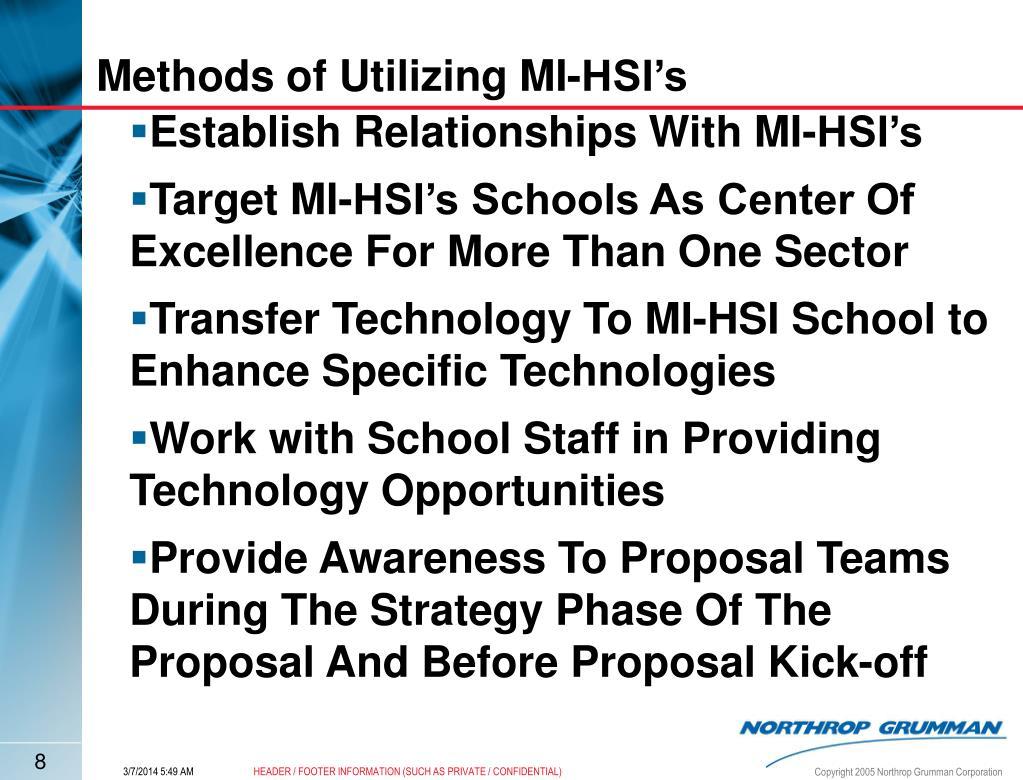 Methods of Utilizing MI-HSI's