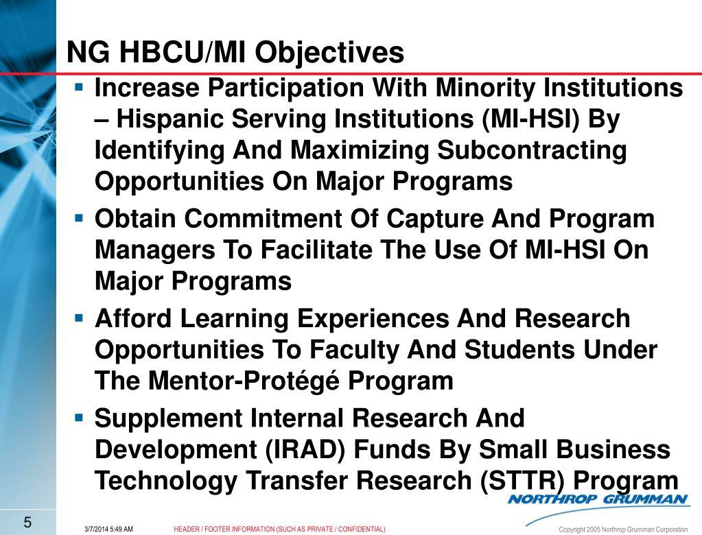NG HBCU/MI Objectives