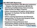 ng hbcu mi objectives