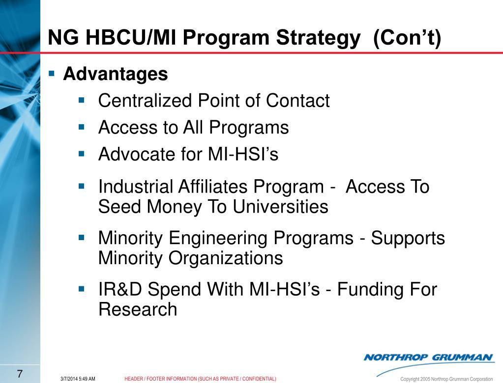 NG HBCU/MI Program Strategy  (Con't)
