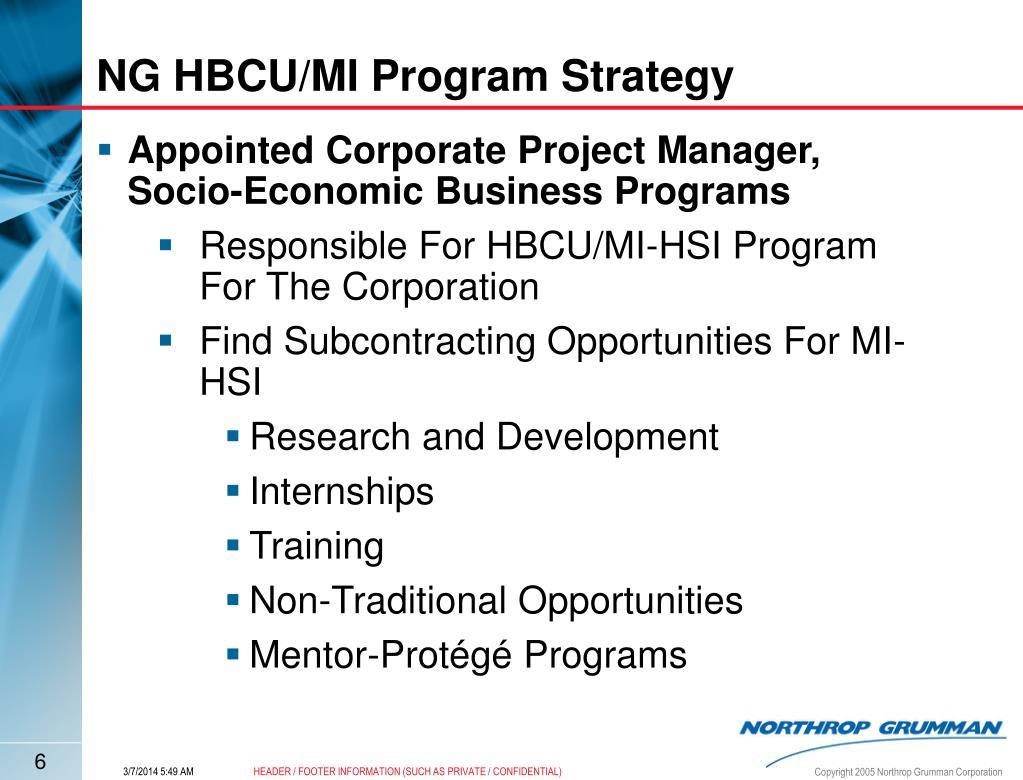 NG HBCU/MI Program Strategy