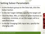 setting solver parameters