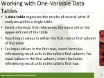 working with one variable data tables