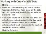 working with one variable data tables10