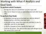 working with what if analysis and goal seek