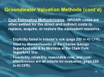 groundwater valuation methods cont d