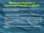 identifying categories of groundwater damages in nrdar