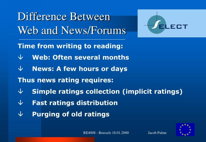 Difference between web and news forums