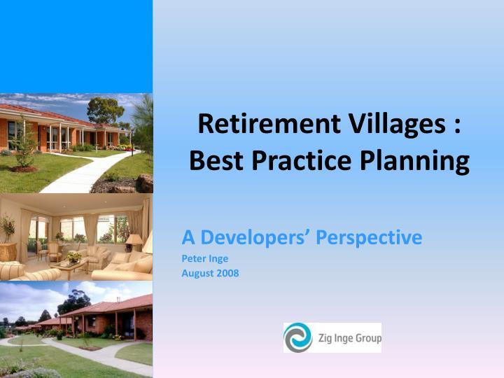 Retirement villages best practice planning