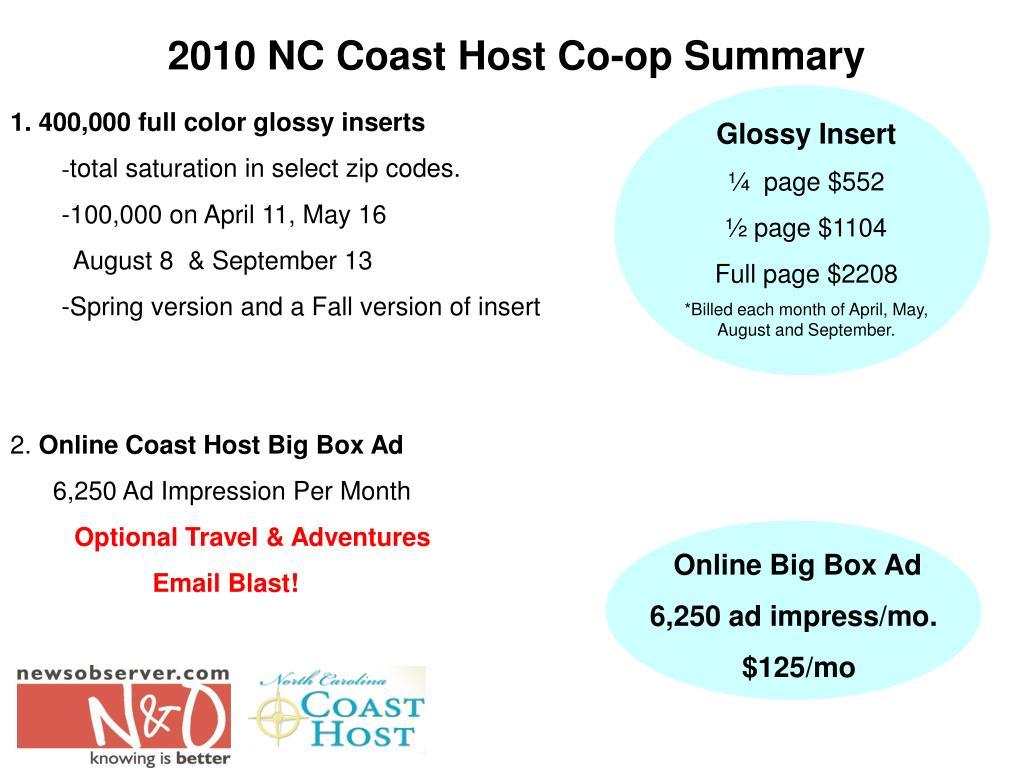 2010 NC Coast Host Co-op Summary