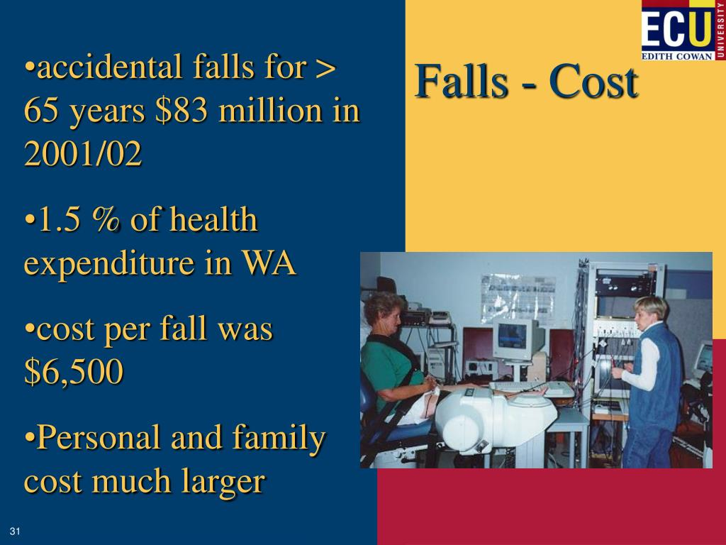 accidental falls for > 65 years $83 million in 2001/02