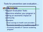 tools for preventive care evaluation