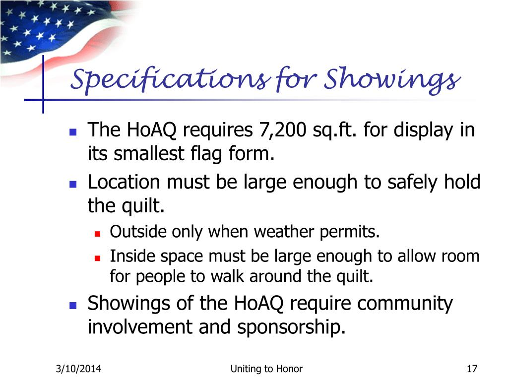 Specifications for Showings
