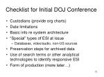 checklist for initial doj conference