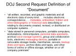 doj second request definition of document