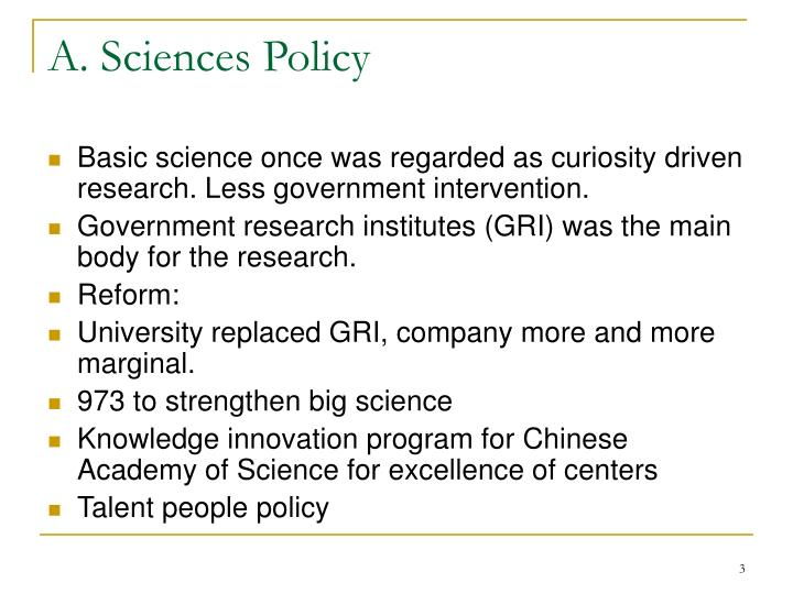 A sciences policy