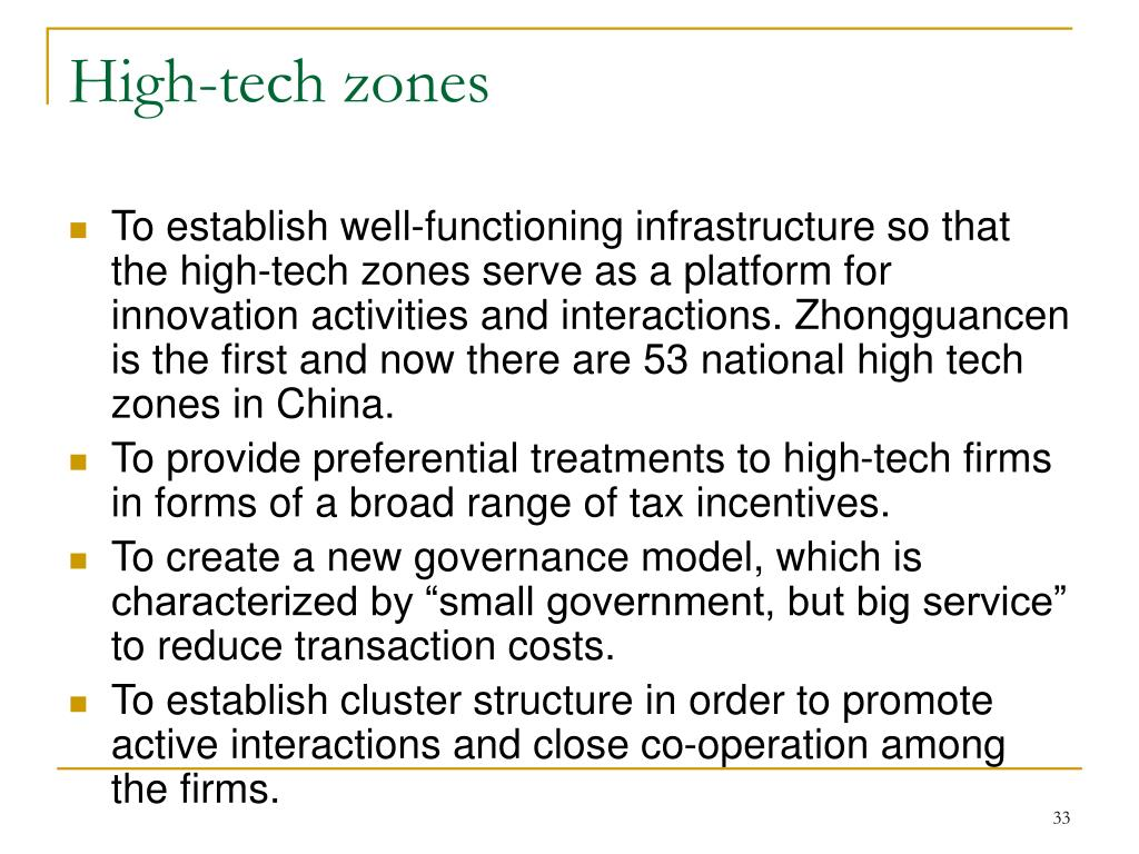 High-tech zones