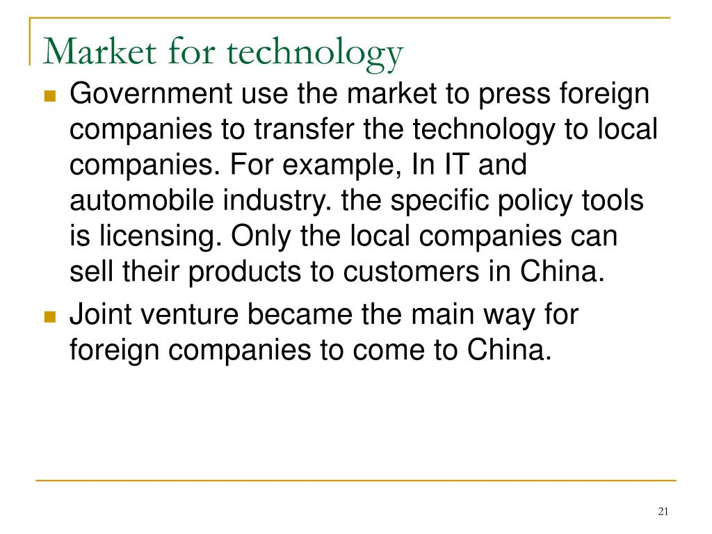 Market for technology