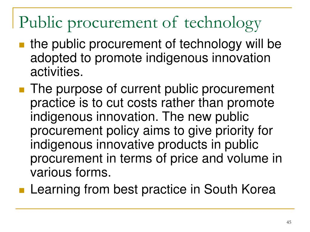 Public procurement of technology
