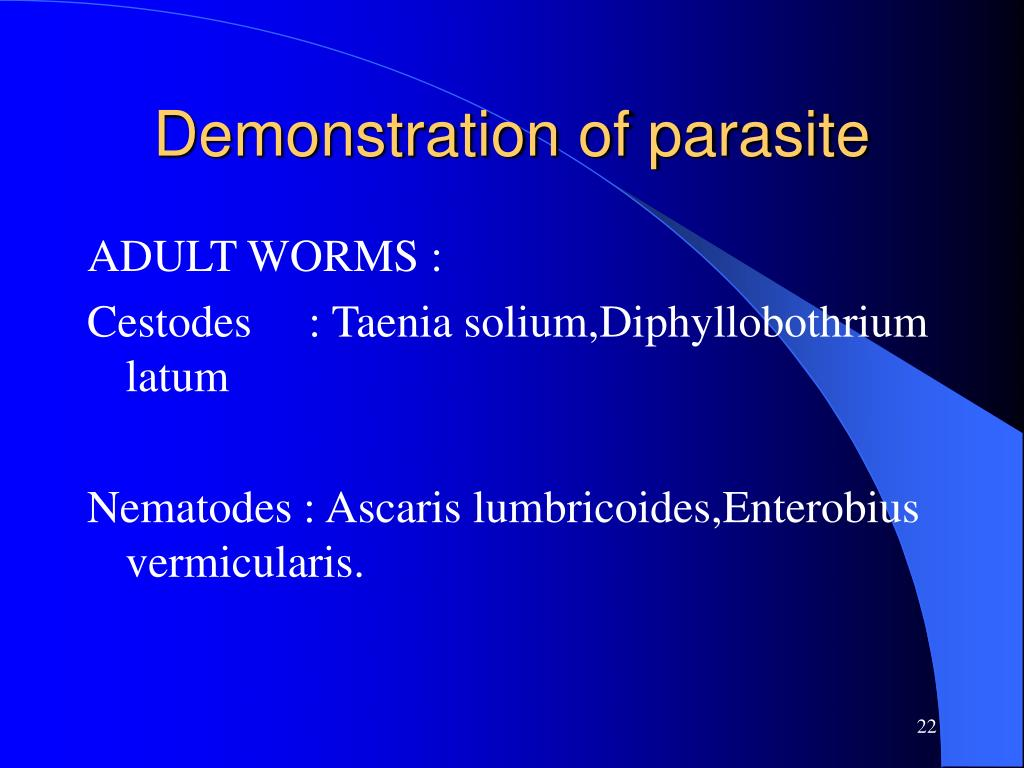 Demonstration of parasite