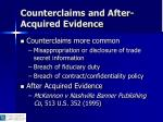 counterclaims and after acquired evidence