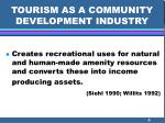 tourism as a community development industry