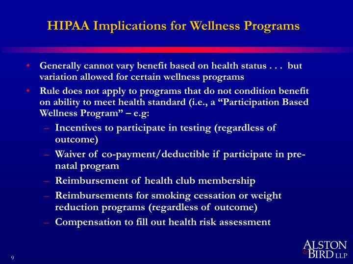 HIPAA Implications for Wellness Programs