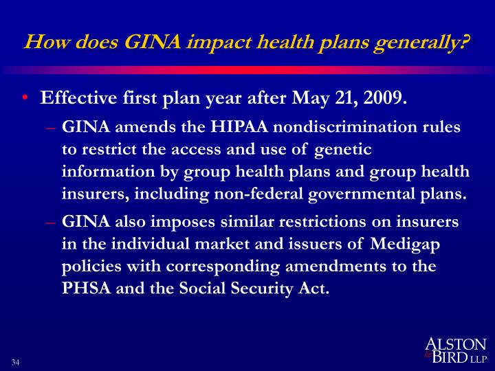 How does GINA impact health plans generally?