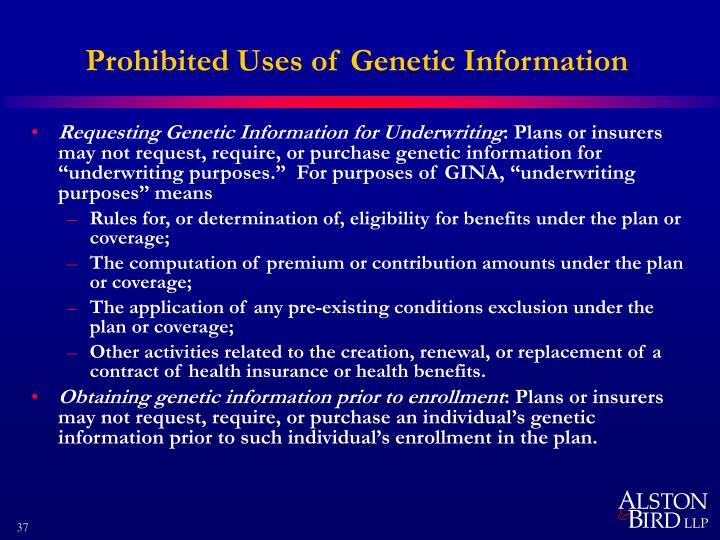 Prohibited Uses of Genetic Information