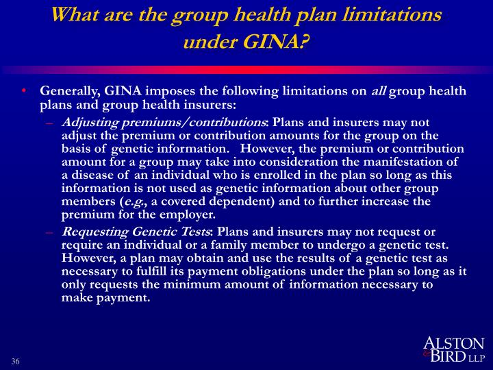 What are the group health plan limitations under GINA?