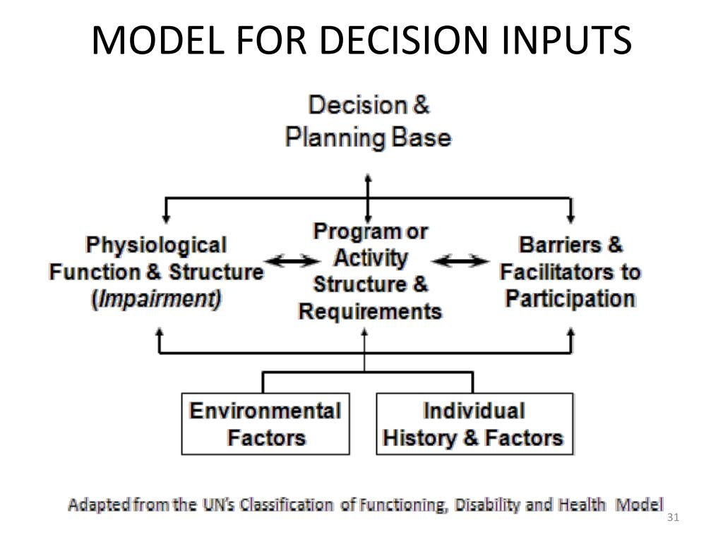MODEL FOR DECISION INPUTS