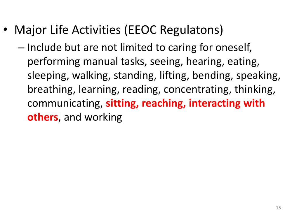Major Life Activities (EEOC Regulatons)