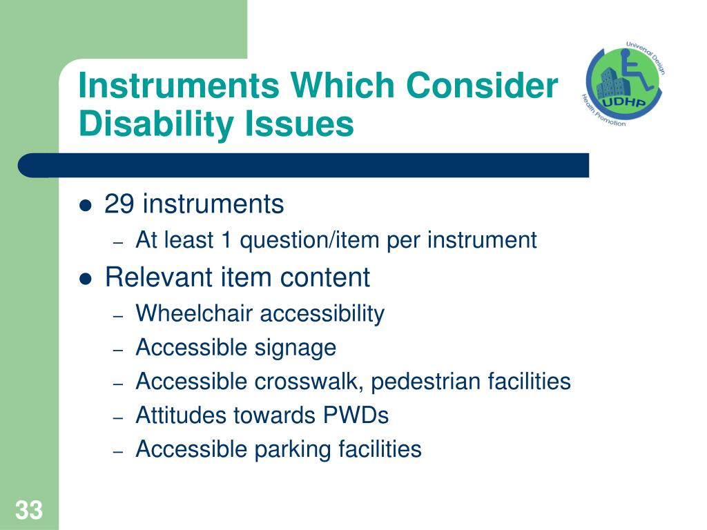 Instruments Which Consider Disability Issues
