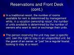 reservations and front desk cont