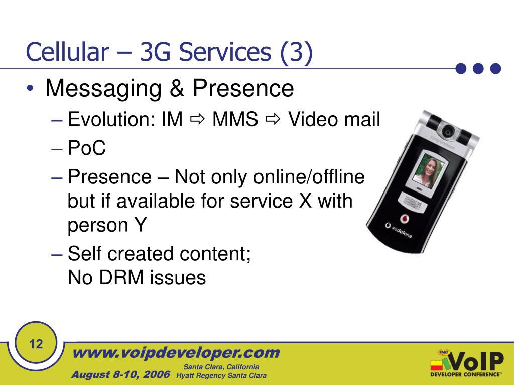 Cellular – 3G Services (3)