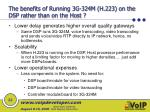 the benefits of running 3g 324m h 223 on the dsp rather than on the host