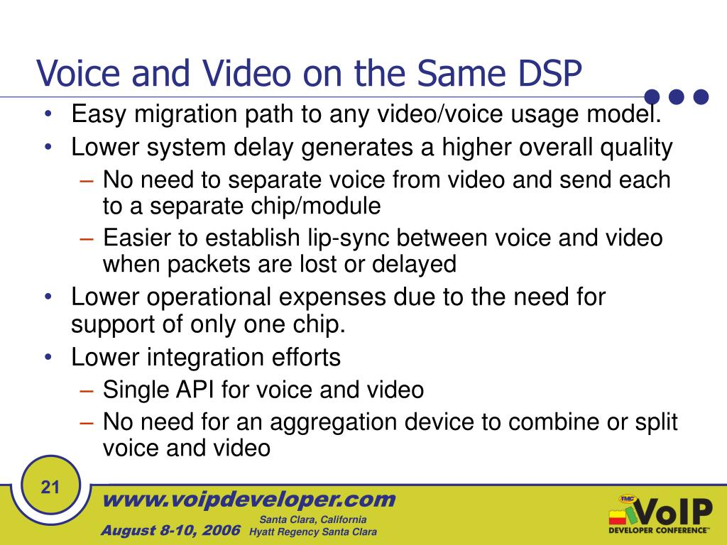 Voice and Video on the Same DSP