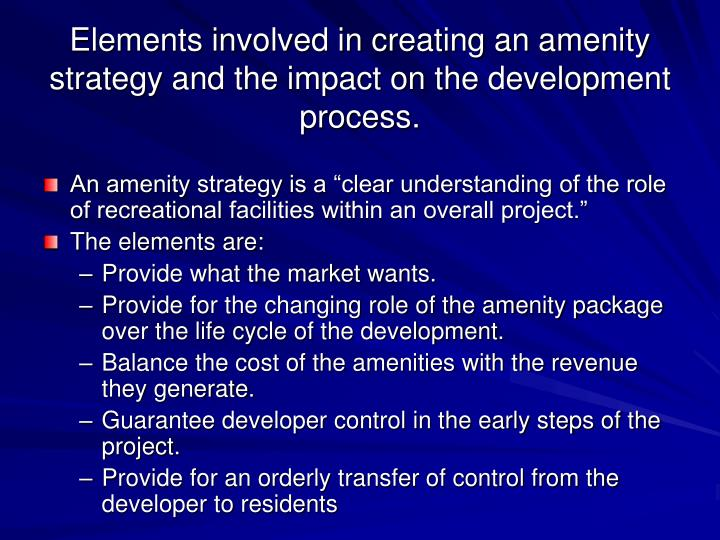 Elements involved in creating an amenity strategy and the impact on the development process.