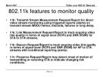 802 11k features to monitor quality