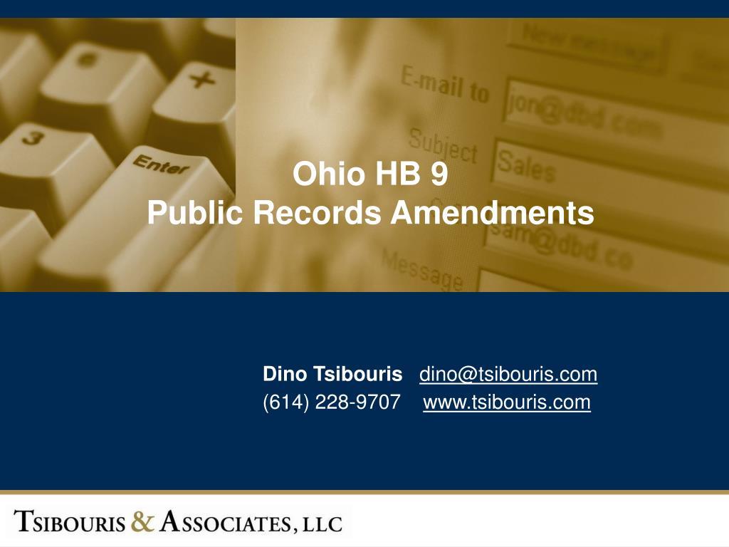 ohio hb 9 public records amendments l.