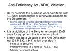 anti deficiency act ada violation