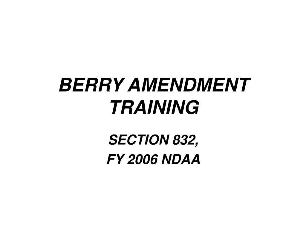 berry amendment training l.