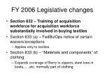fy 2006 legislative changes