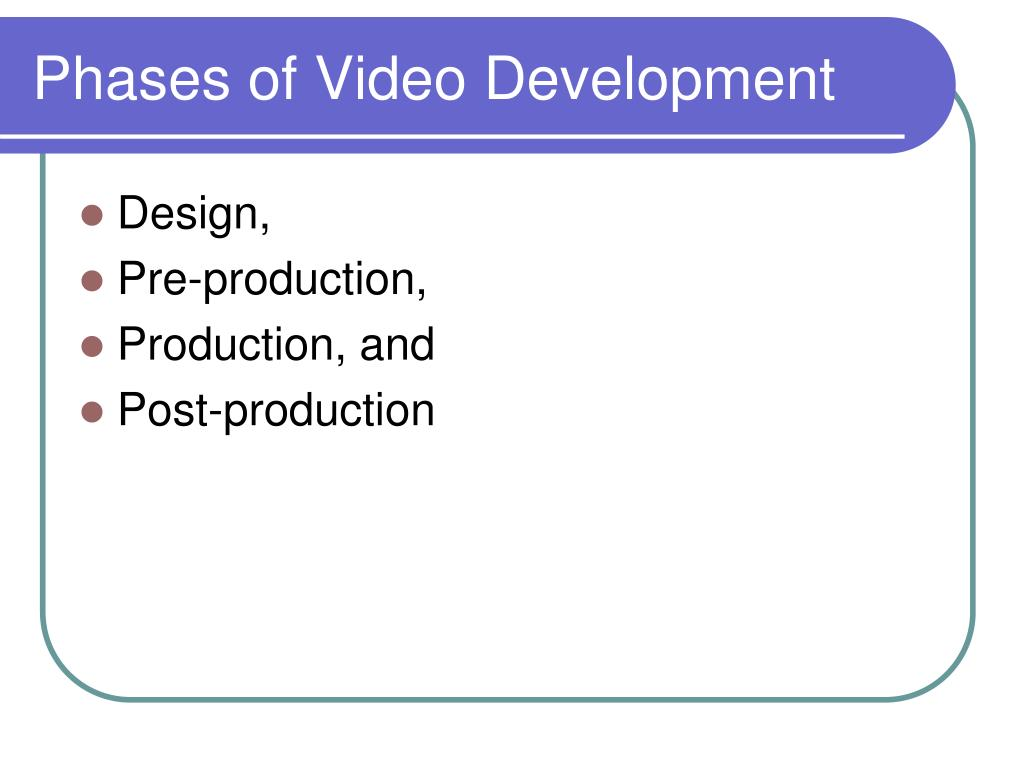 Phases of Video Development