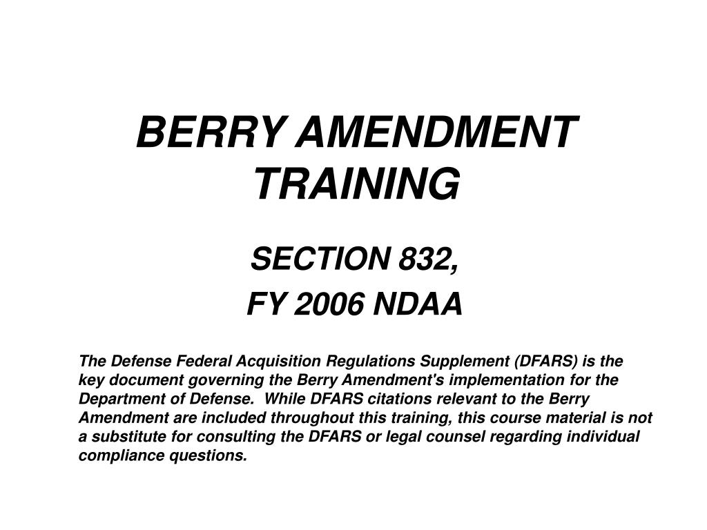 berry amendment training l.